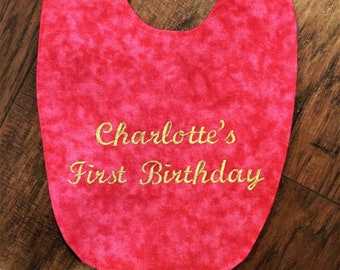 Baby bibs, birthday bib, personalized baby bib, 1st birthday bibs, first birthday bibs, hot pink, gold, pink, baby girl, baby girl clothes