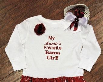 Alabama, girls dress, tshirt dress, Crimson Tide, Roll Tide, Aunt, Auntie, Crimson, cream, white, girls clothes, girls t shirt, t-shirt