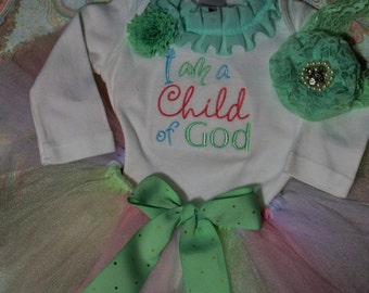 I am a child of God, baptism, blessing, dedication, baby girl clothes, baby shower gift, new baby gift, baby tutu, bodysuit, clearance sale