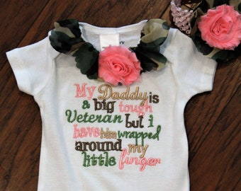 Veteran's Day, baby girl clothes, army, bodysuit, camo, daddy, baby shower gift, new baby gift, baby girl gift, baby girl camo, military