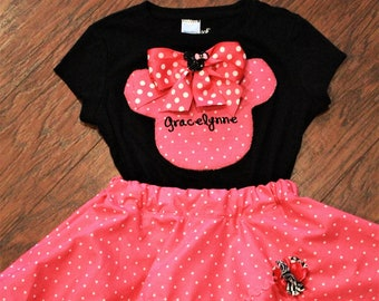 Minnie Mouse outfit, Minnie Mouse shirt, personalized, Disney, pink, white, polka dot, girls tshirt, girls t shirt, t-shirt, black tshirt