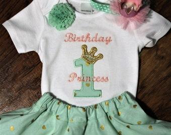 1st birthday, first birthday, Princess, birthday, birthday crown, crown, girl birthday, girl 1st birthday, mint green, green, pink, skirt