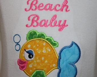 Baby girl clothes, baby beach shirt, baby shower gift, new baby gift, baby girl gift, tank top, bubble guppies, fish, summer, beach shirt
