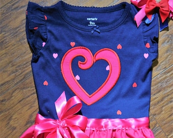 Baby shower gift, baby girl gift, new baby gift, baby girl clothes, heart, Valentine's Day, bodysuit, navy blue dress, baby dress, pink