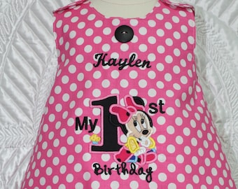 Minnie Mouse, first birthday, birthday, Minnie Mouse ears, pink, 1st birthday outfit, baby girl, personalized, custom, handmade, Disney
