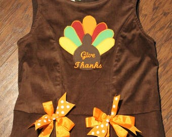 Thanksgiving, girls dresses, corduroy dress, corduroy jumper, holiday dresses, brown, turkey, jumper, girls clothes, Thanksgiving dress