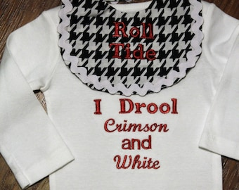 Baby shower gift, new baby gift, Alabama, Roll tide, crimson tide, bodysuit, baby bib, baby clothes, baby boy clothes, baby boy gift, custom