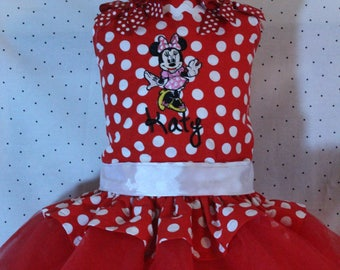 Minnie Mouse, birthday, Disney, custom, handmade, personalized, tutu, red, white, first birthday, 1st birthday, 2nd birthday, 3rd birthday