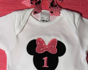 Minnie Mouse inspired 1st birthday, first birthday, bodysuit, baby girl clothes, birthday, Mouse hairbow, black, pink, Clearance