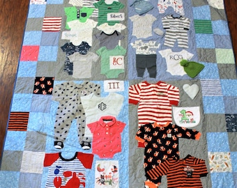 Baby clothes quilt, memory quilt, baby boy clothes, tshirt quilt, baby girl clothes, memory blanket, recycled clothing, 1st year quilt