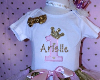 1st birthday outfit, girls first birthday, girl 1st birthday, pink,gold, personalized, princess birthday outfit,  baby crown, birthday crown