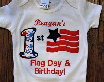 Flag day, Memorial Day, Veteran's Day, 4th of July, baby clothes, baby girl clothes, baby boy clothes, bodysuit, personalized, patriotic