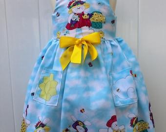Girl Easter dress, Easter, girls dresses, girls dress, Easter dress, Easter dresses, Easter bunny, blue, yellow, dress, dresses