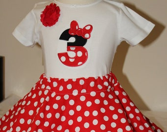 Minnie Mouse birthday outfit, girls 3rd birthday outfit, girl third birthday, Minne Mouse shirt, Minnie Mouse skirt, red and white polka dot