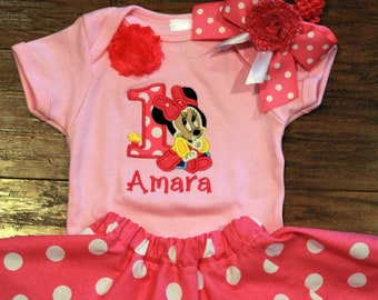 1st birthday outfit,  first birthday outfit, Minnie, personalized, baby girl, pink and white polka dot skirt, Mouse