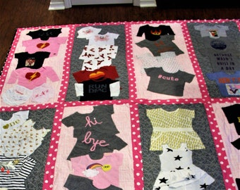 Baby clothing quilt, baby clothes quilt, memory quilt, recycled clothing quilt, quilt made from kids clothing, full size quilt