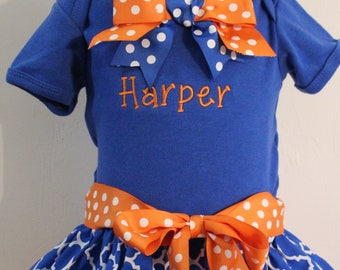 Florida Gator inspired, Florida, Gators, football, bodysuit, blue, orange, baby girl clothes, baby shower gift, baby girl gift, dress