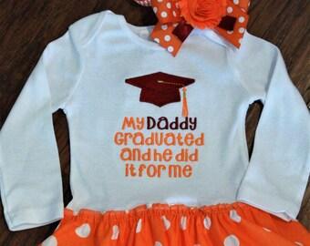 College graduation, graduation, graduation cap, school graduation, orange, white, Tennessee, bodysuit, baby girl dress, baby girl clothes