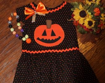 Halloween dress, Thanksgiving dress, girls Halloween dress, girl Thanksgiving dress, Pumpkin, orange, black, polka dot dress, girls holiday