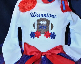 Baby girl, team outfit, Cheerleader, baby girl clothes, football, bodysuit, Navy blue, baby tutu, Red, white, blue, girls outfit