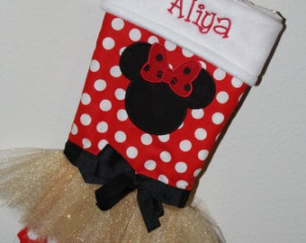 Christmas stocking, Minnie Mouse inspired Christmas stockings, personalized stocking, girl stocking, Christmas decor, girls stockings, red