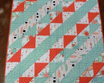 Baby quilt, Baby girl quilt, baby blanket, handmade, custom, tribal, boho, aqua blue, coral, peach, crib size quilt, twin size quilt, full