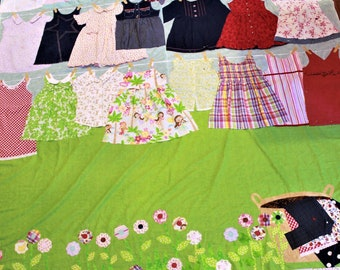 Girls baby clothes quilt, memory quilt, memory quilts, baby clothes quilt, clothing quilt, quilts, recycled clothes, memory blanket, queen