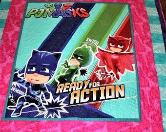 Twin size, quilt, handmade, custom, PJMasks, kids quilt, girl quilt, boy quilt, throw size quilt, Christmas gift, birthday gift, girl gift