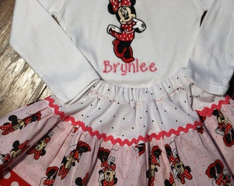 Minnie Mouse inspired outfit, baby girl outfit, baby girl clothes, Minnie, bodysuit, personalized, polka dot skirt, red, pink, white