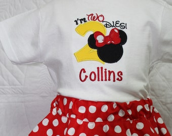 I'm Twodles, 2nd birthday, second birthday, girls shirt,  Minnie Mouse inspired birthday, baby girl, personalized, birthday, t shirt, tshirt