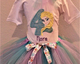 Girls 4th birthday, fourth birthday, Frozen, Elsa outfit, Elsa shirt, 4th birthday shirt, Elsa birthday, Disney, princess, tutu, blue