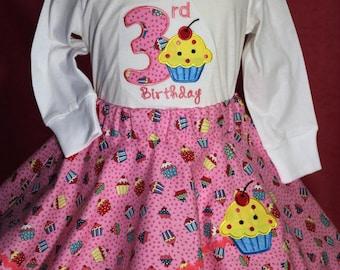Girls 3rd birthday, girl third birthday, Cupcake, birthday shirt,  Pink skirt, toddler clothes, Personalized, girl birthday shirt, t shirt