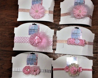 Baby headbands, girls headbands, baby headband, pink, baby shower gift, baby girl gift, pink headbands, stretch headband, baby gift set