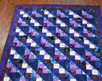 Twin size quilt, Girls quilt, patchwork quilt, handmade quilt, purple, blue, pink, personalized quilt, full size, queen size, king size