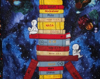 Spaceship quilt, Rocket Wall hanging, NASA wall hanging, Outer space quilt,Boy wallhanging,Boy quilt,Library book quilt, Library books quilt