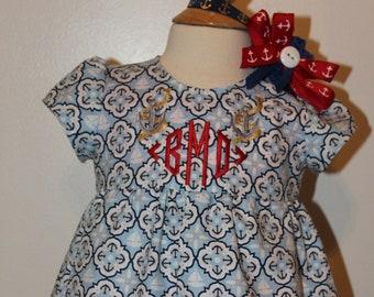 Baby girl clothes,Sailor dress, baby girl dress, nautical, beach dress, blue, navy, anchor, baby shower gift, new baby gift, monogram