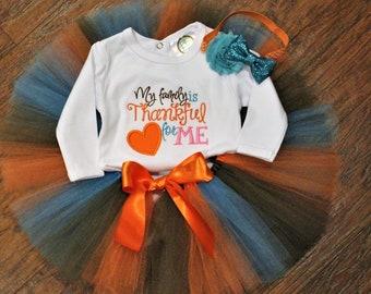 Girl Thanksgiving outfit, baby girl Thanksgiving outfit,Thanksgiving bodysuit, baby girl tutu, baby headband, orange, blue