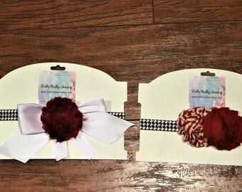 Alabama, baby headbands, headbands, crimson, white, baby shower gift, baby girl gift, stretch headband, houndstooth