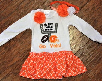 Tennessee Volunteers, Volunteers, Tennessee, baby girl gift, baby shower gift, baby girl clothes, bodysuit, football, orange, white, dress