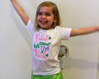 St. Patrick's Day, St Patrick's day outfit, girls tshirt, girls t shirt, t-shirt, green, pink, ruffle shorts, clover, toddler girl clothes