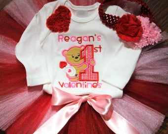 Valentine's Day, first Valentine's Day, 1st Valentines Day, baby shower gift, bodysuit, personalized,  baby tutu, baby girl clothes,