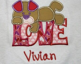Valentine's Day, girl Valentine shirt, t shirt, tshirt, t-shirt, Valentine shirt, dog, puppy, girl clothes, personalized, custom, handmade