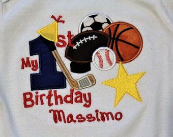 1st birthday, boys first birthday, boy 1st birthday, birthday, bodysuit, hockey stick, all star, football, soccer, basketball, baseball,