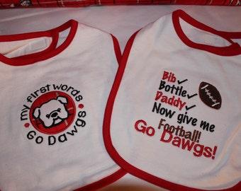 Georgia, bulldogs baby bibs, Georgia baby bibs,  bulldog bibs, red and black baby bib, new baby gift, baby shower gift