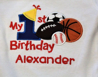 1st birthday, first birthday, All Star birthday, baby boy birthday, 1st birthday boy, Baseball, soccer, basketball, personalized, birthday,
