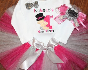 Personalized baby girl 1st New Years outfit, Pink and silver baby tutu, embroidered baby girl New Year bodysuit, pink and silver headband