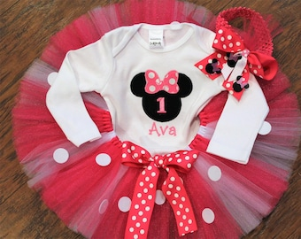 Minnie Mouse, personalized, 1st birthday outfit, first birthday, Minnie Mouse birthday, 1st birthday girl, babys first birthday, baby first