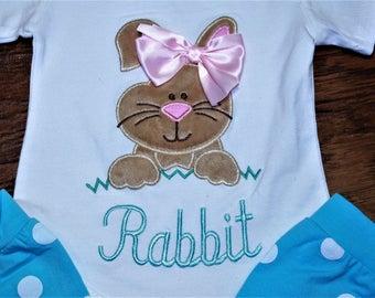Easter bodysuit for baby girls, Girl Easter bodysuit, Girls Easter shirt, Easter Rabbit bodysuit with matching Aqua blue leg warmers, Bunny