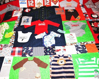 Quilts, Memory quilts, baby clothes quilt, first year quilt, 1st year quilt, baby quilt, boy baby clothes, handmade quilt, king size