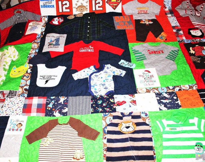 Featured listing image: Baby clothes quilt, First year quilt, 1st year quilt, memory quilt, kids clothing quilt, boy, memory blanket, king size, queen size, twin